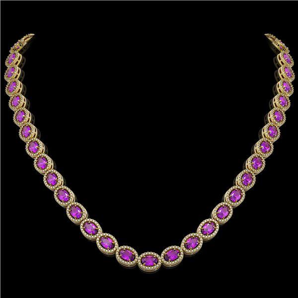 29.38 ctw Amethyst & Diamond Micro Pave Halo Necklace 10k Yellow Gold - REF-600M2G