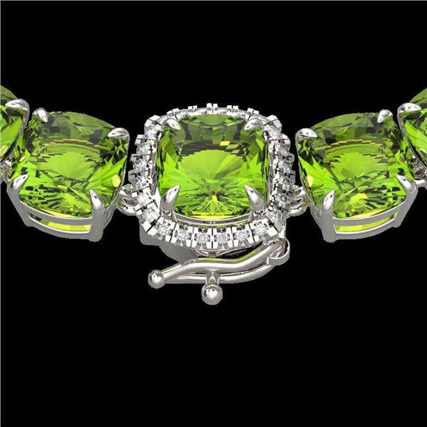 100 ctw Peridot & Diamond Micro Pave Necklace 14k White Gold - REF-528X9A