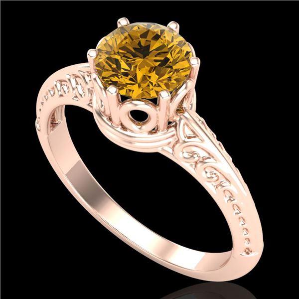 1 ctw Intense Yellow Diamond Engagment Art Deco Ring 18k Rose Gold - REF-180X2A