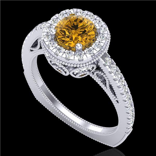 1.55 ctw Intense Fancy Yellow Diamond Art Deco Ring 18k White Gold - REF-200K2Y