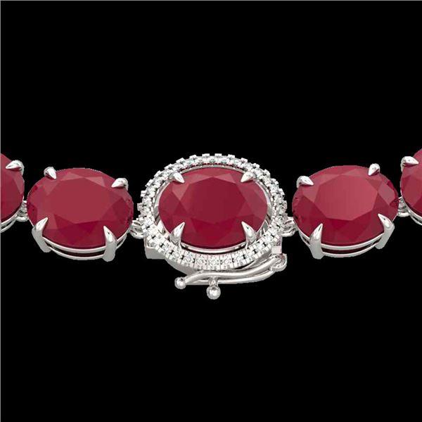 170 ctw Ruby & Diamond Micro Eternity Necklace 14k White Gold - REF-993G8W