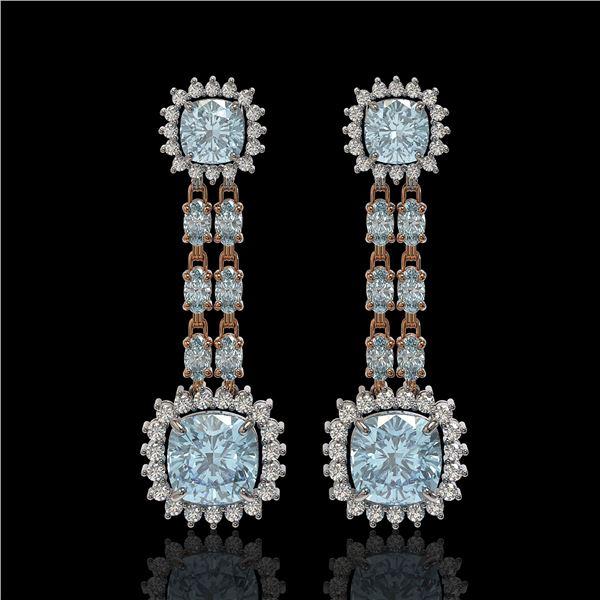 16.22 ctw Aquamarine & Diamond Earrings 14K Rose Gold - REF-321H3R