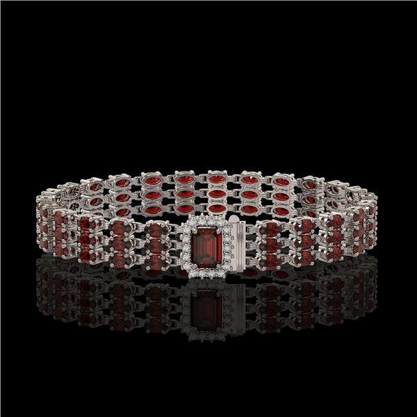 21.51 ctw Garnet & Diamond Bracelet 14K White Gold - REF-318N2F