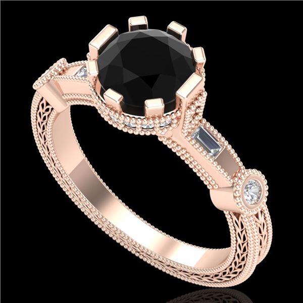 1.71 ctw Fancy Black Diamond Engagment Art Deco Ring 18k Rose Gold - REF-123K6Y
