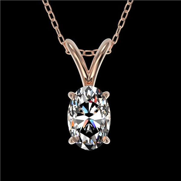 0.50 ctw Certified VS/SI Quality Oval Diamond Necklace 10k Rose Gold - REF-65A2N