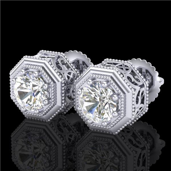 1.07 ctw VS/SI Diamond Solitaire Art Deco Stud Earrings 18k White Gold - REF-218F2M