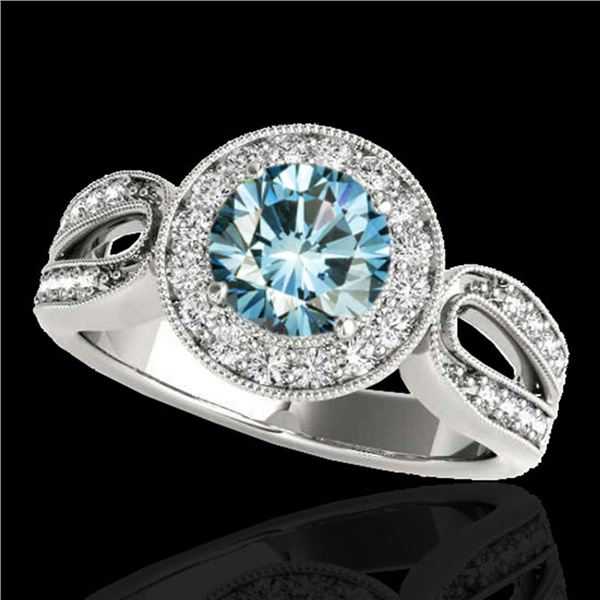 1.4 ctw SI Certified Fancy Blue Diamond Solitaire Halo Ring 10k White Gold - REF-130M6G