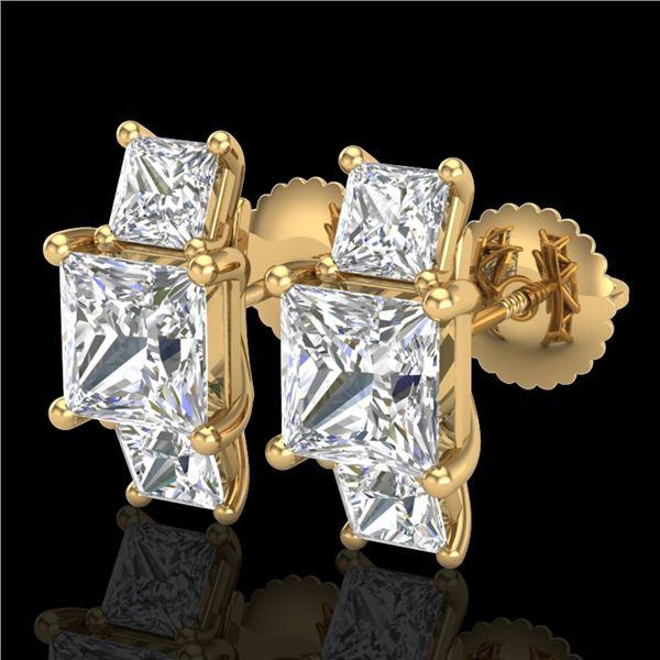 3.08 ctw Princess VS/SI Diamond Art Deco Stud Earrings 18k Yellow Gold - REF-630F2M
