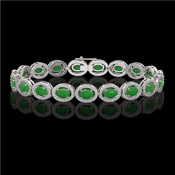 15.20 ctw Jade & Diamond Micro Pave Halo Bracelet 10k White Gold - REF-278X2A