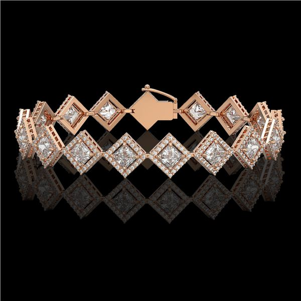 11.7 ctw Princess Cut Diamond Micro Pave Bracelet 18K Rose Gold - REF-1611M3G