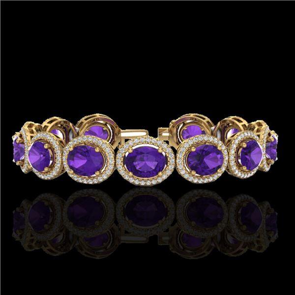 24 ctw Amethyst & Micro Pave VS/SI Diamond Bracelet 10k Yellow Gold - REF-360R2K
