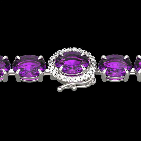 19.25 ctw Amethyst & VS/SI Diamond Micro Pave Bracelet 14k White Gold - REF-116H4R