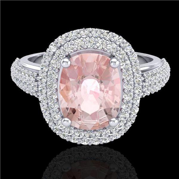 3.25 ctw Morganite & Micro Pave VS/SI Diamond Ring 18k White Gold - REF-161R8K