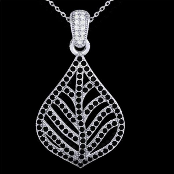 1.25 ctw Micro Pave Black & VS/SI Diamond Necklace 18k White Gold - REF-136G4W