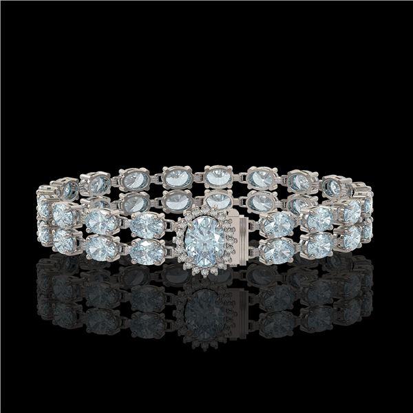 17.78 ctw Sky Topaz & Diamond Bracelet 14K White Gold - REF-209W3H