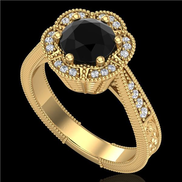 1.33 ctw Fancy Black Diamond Engagment Art Deco Ring 18k Yellow Gold - REF-89W3H