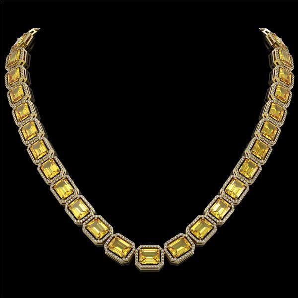 77.35 ctw Fancy Citrine & Diamond Micro Pave Halo Necklace 10k Yellow Gold - REF-737Y3X