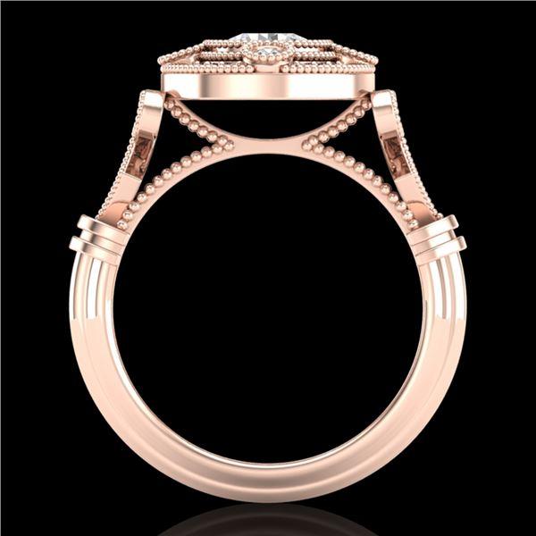 1.12 ctw VS/SI Diamond Solitaire Art Deco Ring 18k Rose Gold - REF-250G2W