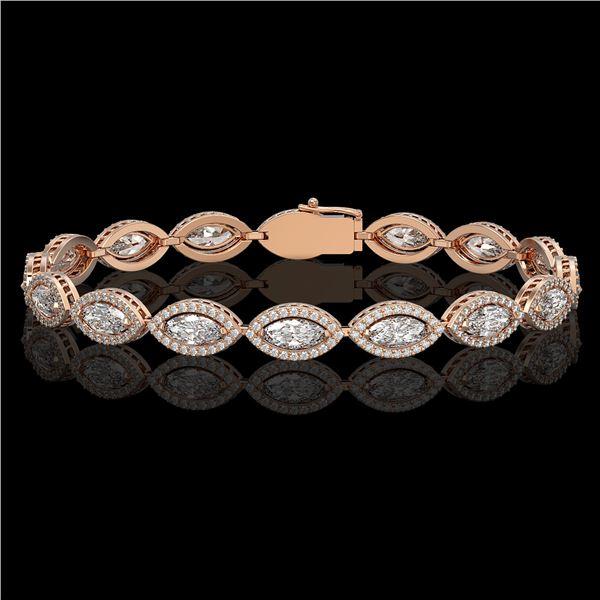 10.61 ctw Marquise Cut Diamond Micro Pave Bracelet 18K Rose Gold - REF-1459N6F