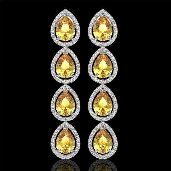 9.2 ctw Fancy Citrine & Diamond Micro Pave Halo Earrings 10k White Gold - REF-172F8M