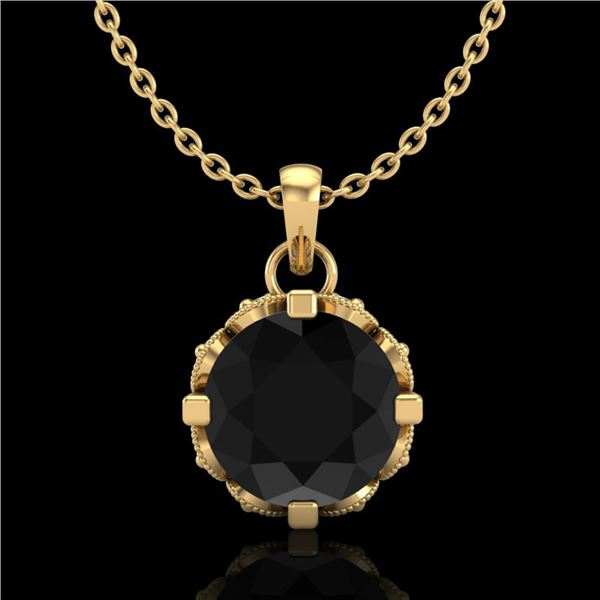 1.14 ctw Fancy Black Diamond Art Deco Stud Necklace 18k Yellow Gold - REF-81N8F