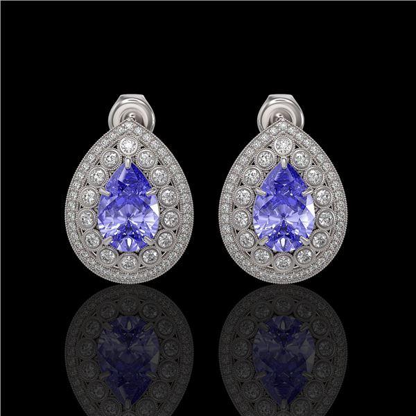 8.54 ctw Tanzanite & Diamond Victorian Earrings 14K White Gold - REF-436M4G