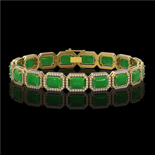 25.36 ctw Jade & Diamond Micro Pave Halo Bracelet 10k Yellow Gold - REF-345X5A