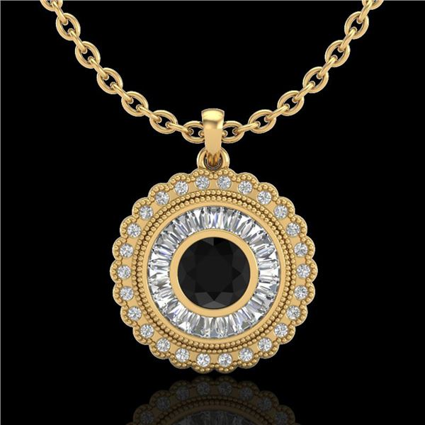 2.11 ctw Fancy Black Diamond Art Deco Stud Necklace 18k Yellow Gold - REF-180A2N