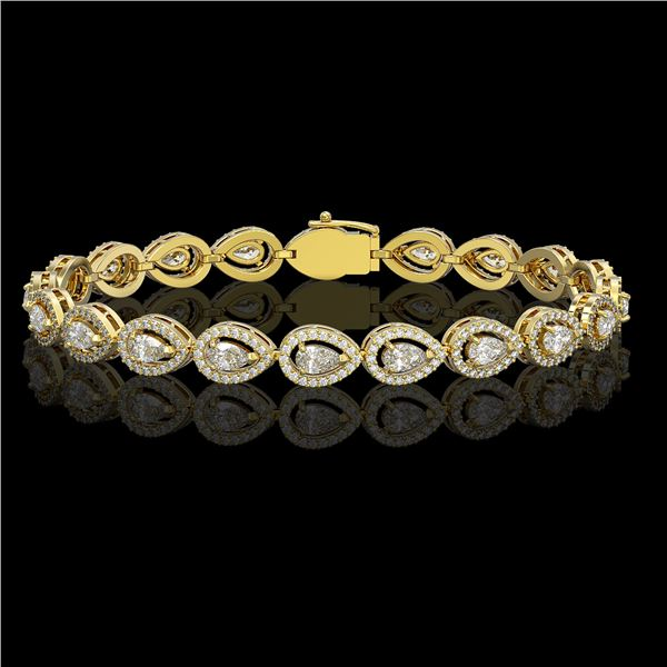 7.29 ctw Pear Cut Diamond Micro Pave Bracelet 18K Yellow Gold - REF-633R8K
