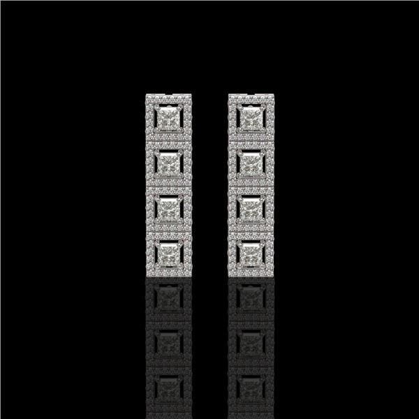 4.01 ctw Princess Cut Diamond Micro Pave Earrings 18K White Gold - REF-346M3G