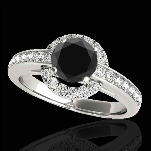 1.5 ctw Certified VS Black Diamond Solitaire Halo Ring 10k White Gold - REF-62G8W