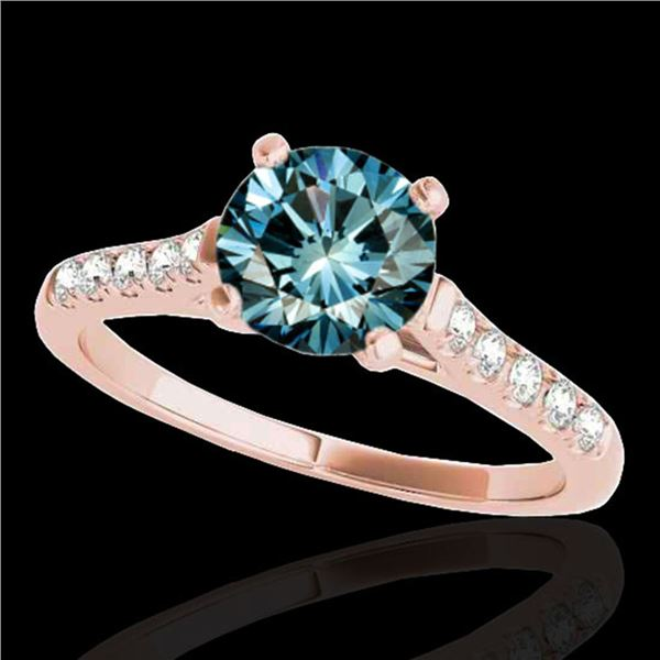 1.45 ctw SI Certified Fancy Blue Diamond Solitaire Ring 10k Rose Gold - REF-163G6W