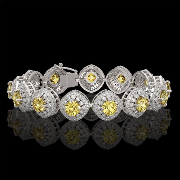 28.35 ctw Canary Citrine & Diamond Victorian Bracelet 14K White Gold - REF-805R5K