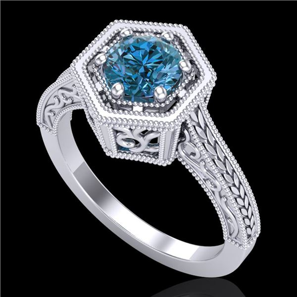 0.77 ctw Fancy Intense Blue Diamond Art Deco Ring 18k White Gold - REF-130X9A