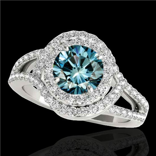 1.9 ctw SI Certified Fancy Blue Diamond Solitaire Halo Ring 10k White Gold - REF-156Y8X
