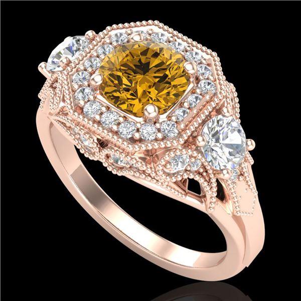 2.11 ctw Intense Fancy Yellow Diamond Art Deco Ring 18k Rose Gold - REF-283X6A