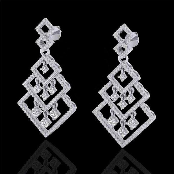3 ctw Micro Pave VS/SI Diamond Earrings Dangling 14k White Gold - REF-290H9R