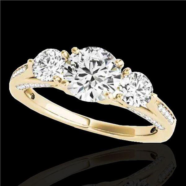 1.75 ctw Certified Diamond 3 Stone Ring 10k Yellow Gold - REF-177G3W