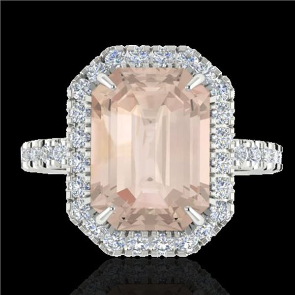 4.50 ctw Morganite & Micro Pave VS/SI Diamond Ring 18k White Gold - REF-112W4H