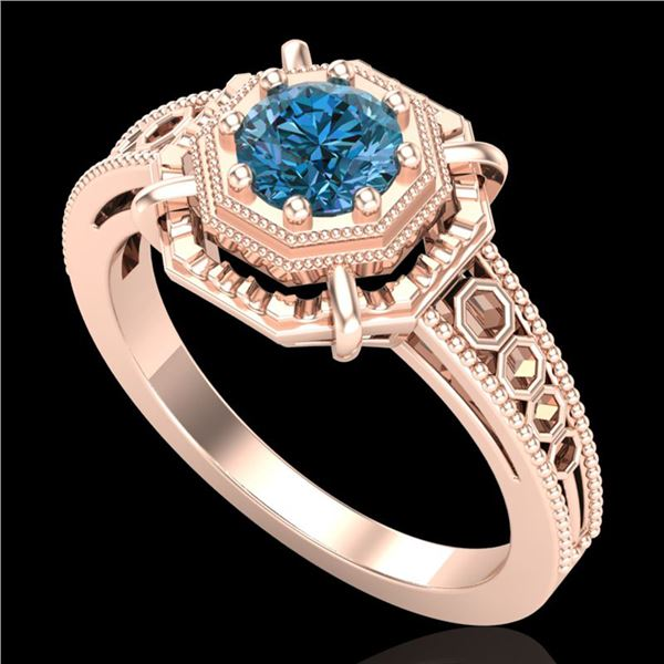 0.53 ctw Fancy Intense Blue Diamond Art Deco Ring 18k Rose Gold - REF-109X3A