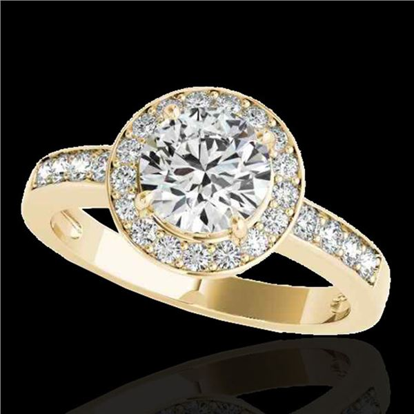 1.4 ctw Certified Diamond Solitaire Halo Ring 10k Yellow Gold - REF-200W5H