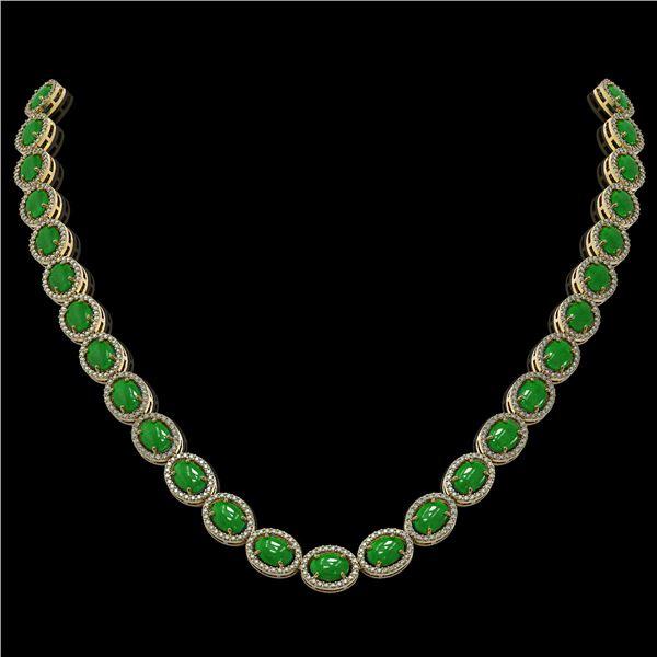 49.93 ctw Jade & Diamond Micro Pave Halo Necklace 10k Yellow Gold - REF-563F5M