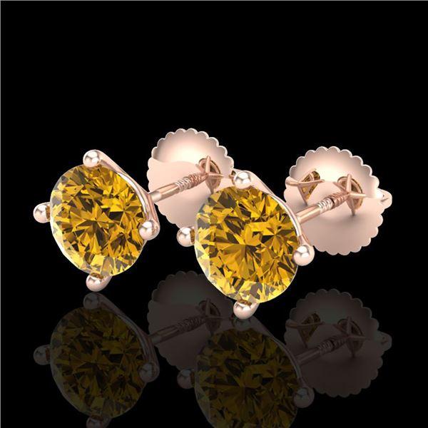 2 ctw Intense Fancy Yellow Diamond Art Deco Earrings 18k Rose Gold - REF-354M5G