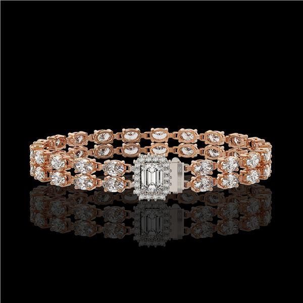 13.04 ctw Emerald Cut & Oval Diamond Bracelet 18K Rose Gold - REF-1261G9W