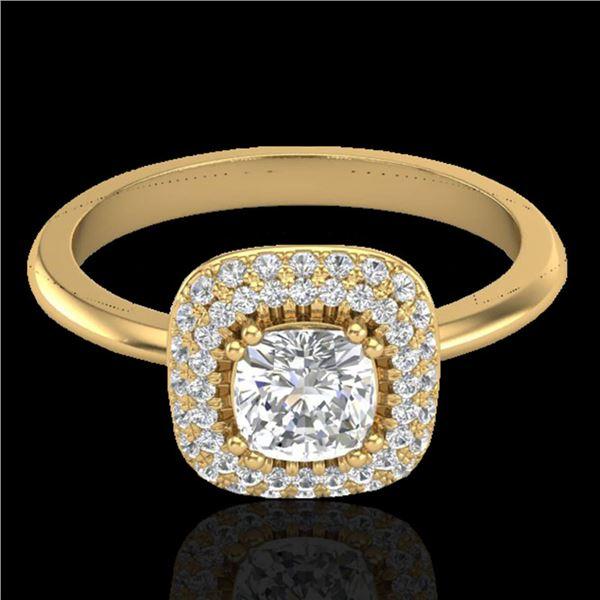 1.16 ctw Micro SI Cushion Diamond Engagment Ring Halo 18k Yellow Gold - REF-149G5W