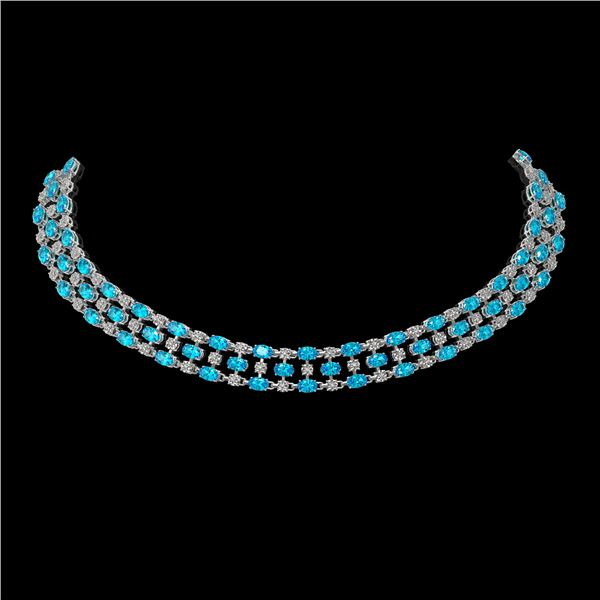 38.99 ctw Swiss Topaz & Diamond Necklace 10K White Gold - REF-427H3R