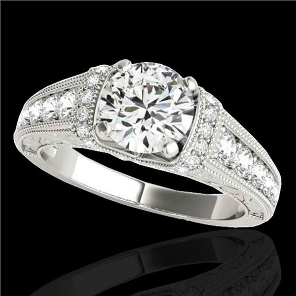 1.75 ctw Certified Diamond Solitaire Antique Ring 10k White Gold - REF-259H3R