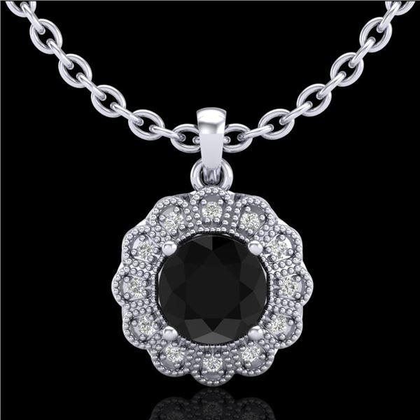 1.15 ctw Fancy Black Diamond Art Deco Stud Necklace 18k White Gold - REF-89K3Y