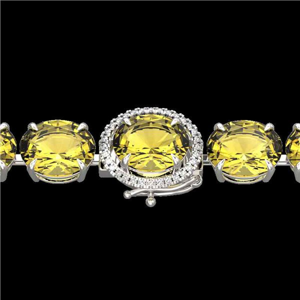 78 ctw Citrine & Micro VS/SI Diamond Bracelet 14k White Gold - REF-212G8W