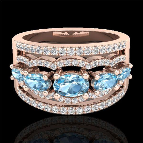 2.25 ctw Sky Blue Topaz & Micro Pave VS/SI Diamond Ring 10k Rose Gold - REF-81N8F